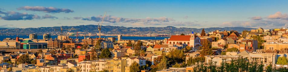 San Francisco skyline panorama from Potrero Hill towards Mission Bay