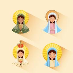 virgin mary icon set. colorful design. vector illustration