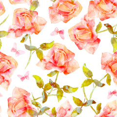 Seamless pattern with watercolor pink roses and butterflies