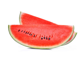 Slice of fresh watermelon isolated on white background