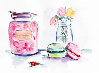 watercolor Jam and cake