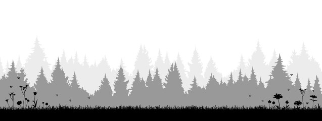 Silhouette Wiese Wald