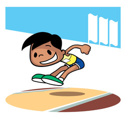 Long jump competition. Cartoon character. Vector illustration