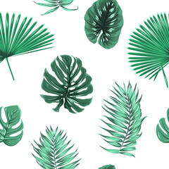 Exotic tropical jungle rain forest palm tree leaves branch monstera ficus seamless pattern. Floating isolated green elements on white background. Vector design illustration fashion, fabric, textile.