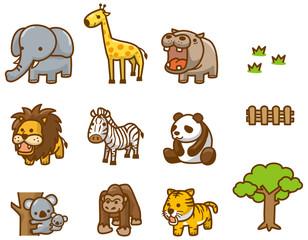 動物園の動物達のイメージイラスト9頭セット