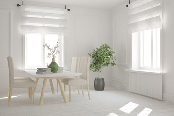 White dinner room. Scandinavian interior design. 3D illustration
