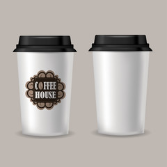 Realistic paper coffee cup vector mockup.