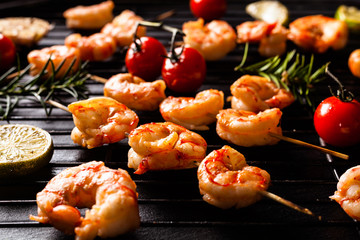 Grilled shrimp skewers.