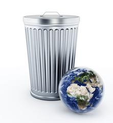 Earth standing near metal trash bin. 3D illustration