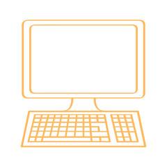 Handgezeichneter Computer in orange