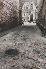 Street stairs white brick wall