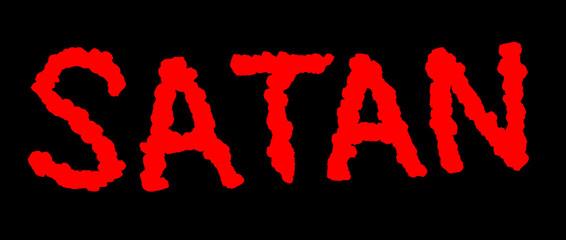 Satan Schriftzug mit roten Buchstaben