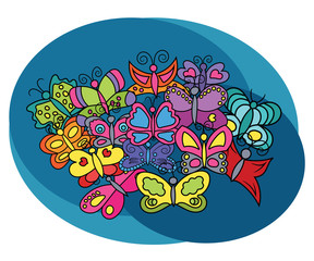 Butterflies design set. Cartoon free hand draw doodle vector illustration.