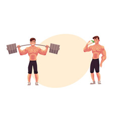 Man bodybuilder working out with barbell and drinking protein shake after training, cartoon vector illustration with space for text. Male bodybuilder with barbell and drinking protein