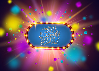 Best Summer Night Brush Script Style Hand lettering. Glowing lights retro frame for advertising design. Special light effects. Colorful stage lights background. Vector Background show.