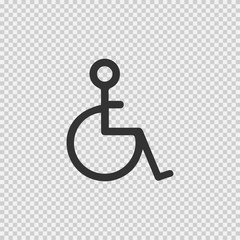 Wheelchair vector icon eps 10. Disabled handicapped isolated simple symbol. Handicap sign on transparent background.