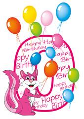 buon compleanno bambina numero zero con scoiattolo