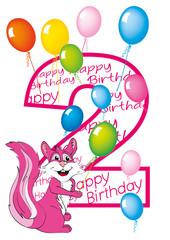 buon compleanno bambina numero due con scoiattolo