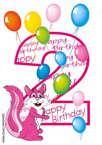 Buon Compleanno Bambina Numero Due Con Scoiattolo Stock Image And