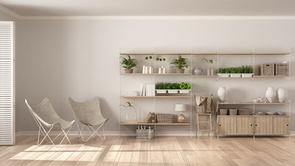 Eco interior design with wooden bookshelf, diy vertical garden storage shelving, living, lounge relax area with armchairs