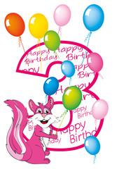 buon compleanno bambina numero tre con scoiattolo