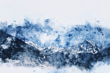 Mountains landscape in winter, digital watercolor painting with space for text
