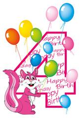 buon compleanno bambina numero quattro con scoiattolo