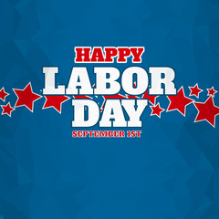 American happy labor day over blue background.