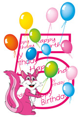 buon compleanno bambina numero cinque con scoiattolo
