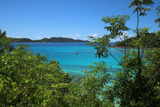 View to Anse Petite Cour and Curieuse Island which are situated in the north of Praslin Island, Seychelles, Indian Ocean, Africa