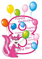 buon compleanno bambina numero otto con scoiattolo