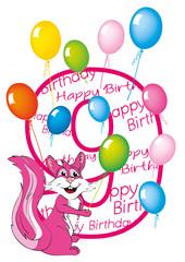 buon compleanno bambina numero nove con scoiattolo