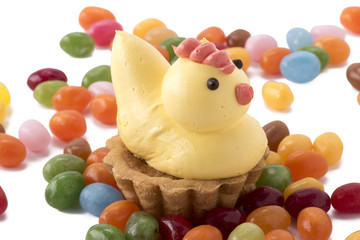Easter chicken pastry with jelly beans