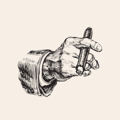 Hand With Cigar Hand Drawn Vector Illustration