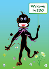 Monkey with banner welcomes in summer ZOO. Vector format.
