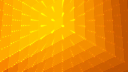 Abstract vector orange background. Matrix of points and polygons with illusion of depth and perspective. Abstract futuristic space background.