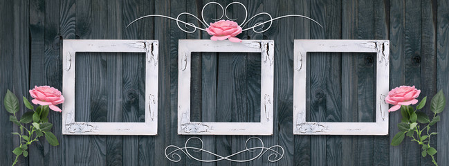 Vintage card with photo frames and roses