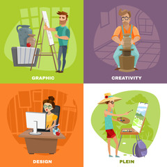 Graphic Designer Artist 4 Icons Square