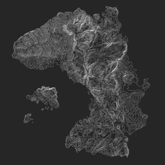 Vector abstract earth relief dark map. Generated conceptual elevation map. Isolines of landscape surface elevation. Geographic map conceptual design. Elegant background for presentations.