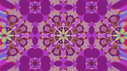 Abstract Colorful Painted Kaleidoscopic Graphic Background. Futuristic Psychedelic Hypnotic Backdrop Pattern With Texture.