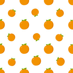 Seamless Pattern. Orange Fruits Background