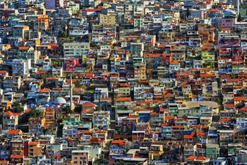 The colorful houses of the slum on a hill in Izmir, near Kadifekale. The suburban neighbourhood of the city.