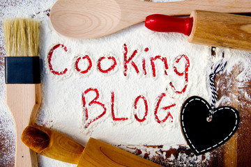 Cooking Blog with heart blackboard - written in flour with red
