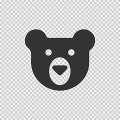 Teddy bear face vector icon eps 10. Simple isolated logo symbol on transparent background.