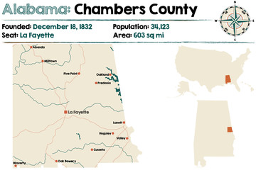 Large and detailed map of Chambers County in Alabama