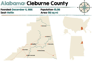Large and detailed map of Cleburne County in Alabama