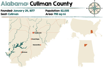 Large and detailed map of Cullman County in Alabama