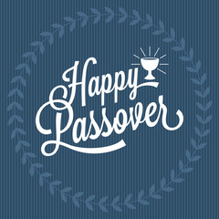 happy passover hand lettering, with wreath and grail