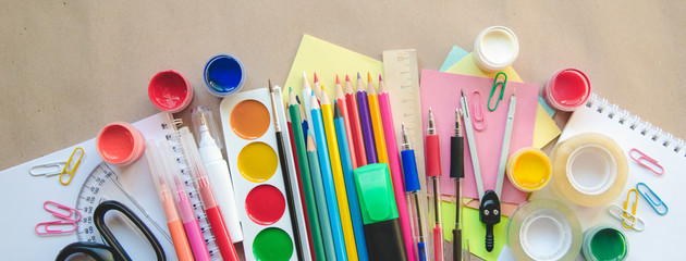 Set of school stationary supplies for creative writing and drawing, copy space, toned photo, back to school concept