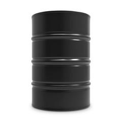 Standard black oil barrel isolated on white background.